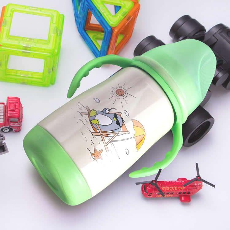 304不锈钢宽口径保温奶瓶绿色款