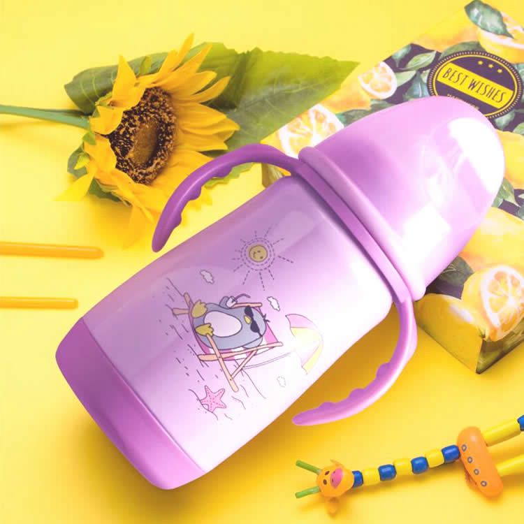 304不锈钢宽口径保温奶瓶紫色款