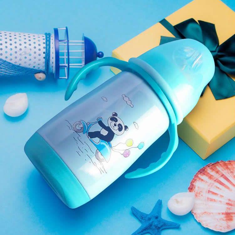 304不锈钢宽口径保温奶瓶蓝色款