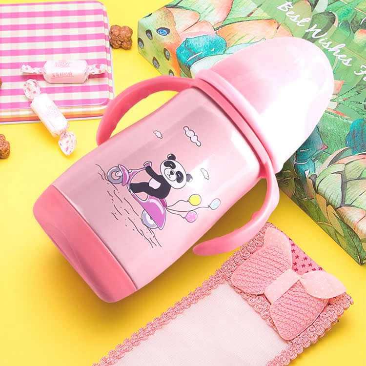 304不锈钢宽口径保温奶瓶粉色款